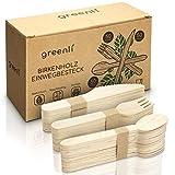 greenli Einwegbesteck - 150 x Holzgabeln, Holzmesser und Holzlöffel - Nachhaltiges Einweggeschirr Set aus Holz